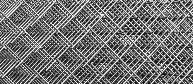 Steel tubes forming an intricate grid