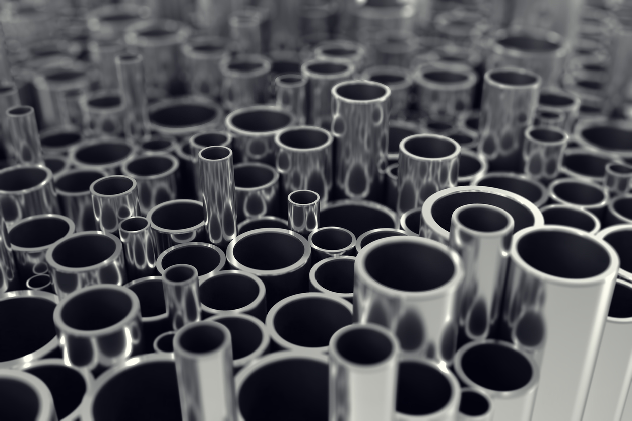 Various steel tubes arranged in a pattern