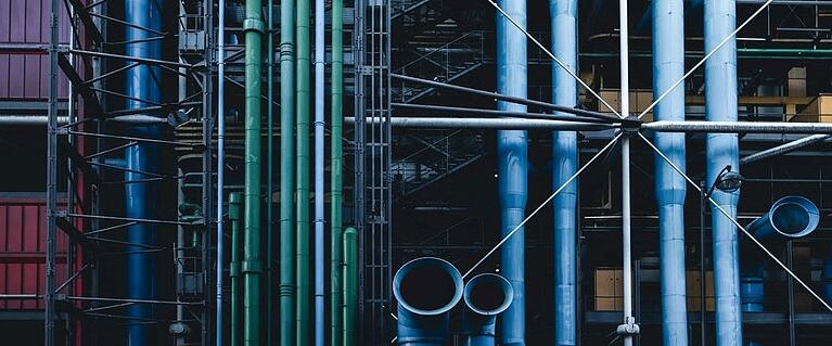 Round steel tubing at an industrial plant
