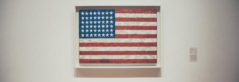 Vintage American flag in a display frame