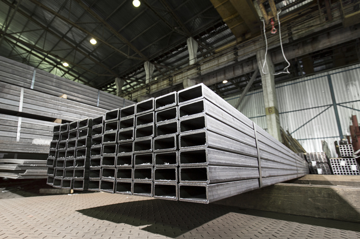 Steel hollow sections stacked in a manufacturing plant